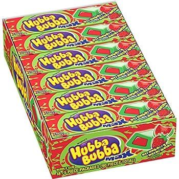 Hubba Bubba Max Strawberry Watermelon Bubble Gum 5 Piece  Pack of 18