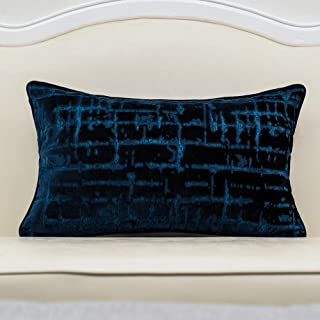 Alerfa 12 x 20 Inch Rectangle Geometrical Plaid Striped Embroidery Cut Velvet Cushion Case Luxury Modern Lumbar Throw Pill...