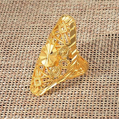 UCJHXFR Anillo De Oro para Mujer África Oro Etiopía Arabia India Nigeria Medio Oriente Sin Metal Tamaño # 034606