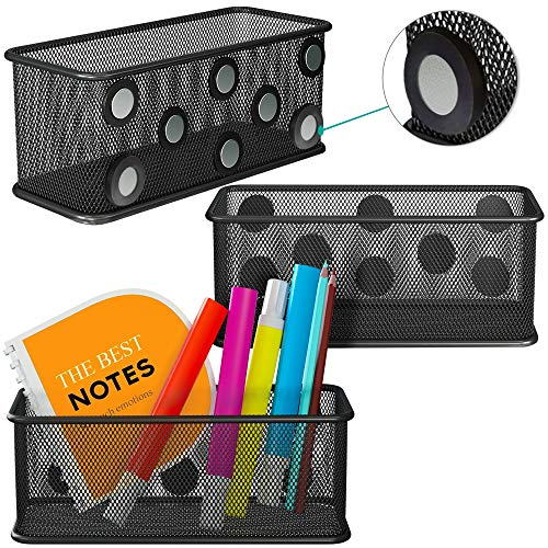 Mesh Magnetic Storage Baskets - Set of 3 Black with Anti-Slip Feature and Strong Magnets - Magnetic Locker Organizer and Pencil Holder for Whiteboard and Refrigerator Rectangular type
