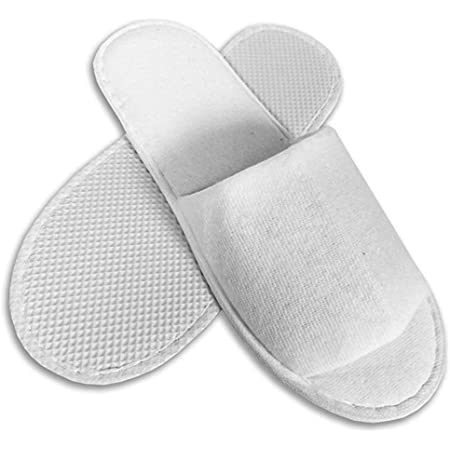 Options Ltd 10 Pairs Disposable SPA Hotel Guest Slippers Open Toe Towelling Terry Style New White