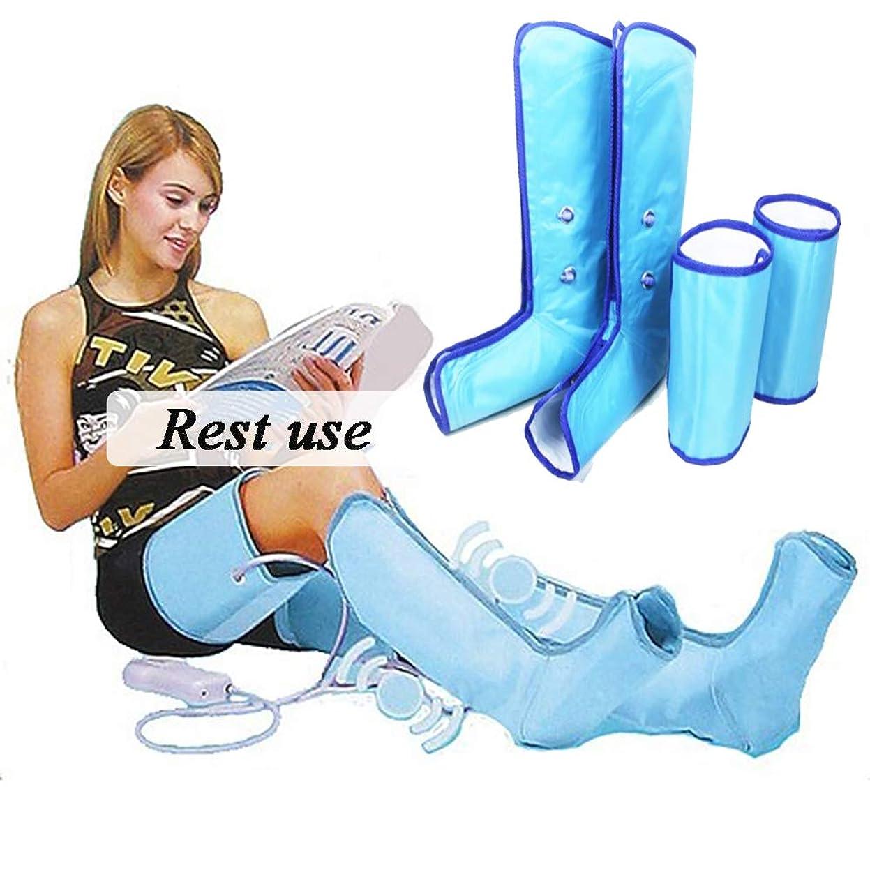 写真の後獲物足のマッサージトマッサージャー循環と筋肉のリラクゼーションに役立つ足とふくらはぎの空気圧縮マッサージを備えたレッグマッサージャー