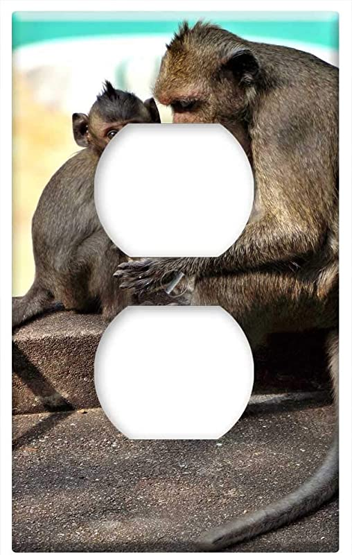 Switch Plate Outlet Cover Monkey Baby Grooming Cute Animal Wild Wildlife