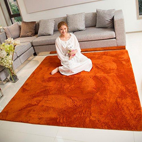 BLZZR*Japanse dikke honing perziken pluisvrij het tapijt van de slaapkamers pluche effen kleur slaapbank en vloerbedekking, 190CM×240CM, oranje
