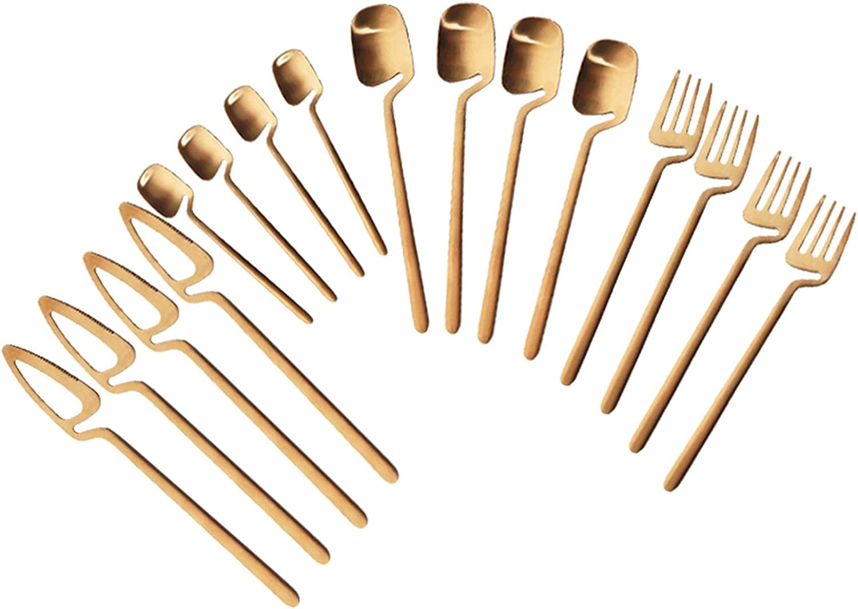 Cocina 16 unids/set Negro Cubiertos Conjunto de cuchillos Postres Forks Cucharas Set de vajilla Set de vajilla de acero inoxidable Set Home Kitchen Silaterware Set cuberteria juego