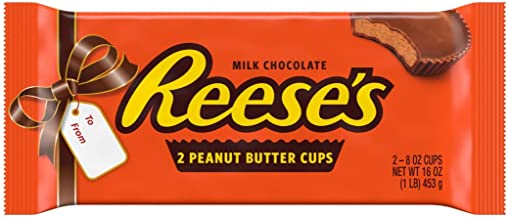 REESE'S Peanut Butter Cups, World's Largest Reese's Chocolate Cup for Unique Holiday Christmas Candy Gift, Two 8 Ounce Cups, 1lb bar