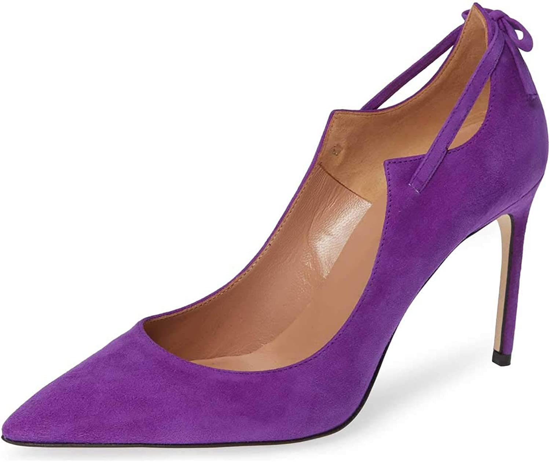 FSJ kvinnor mode mode mode High klackar Slide Pumpar med spetsig tå Faux mocka Single Strap Party skor Storlek 4 -15 USA  online outlet försäljning