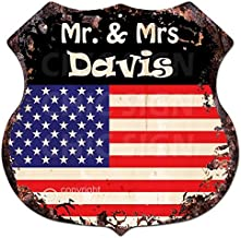 Chic Sign America Flag MR. & MRS Davis Family Name Vintage Retro Rustic 11.5