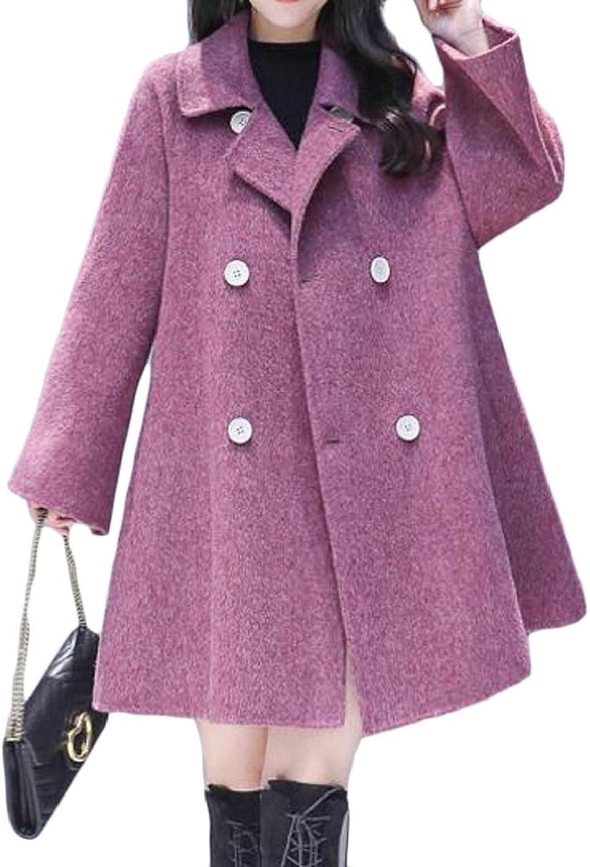 EtecredpowCA Womens Double Breasted Outwear WoolBlended Belt Trench Coat Swing Pea Coat