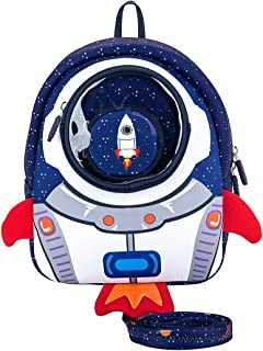 JiePai Toddler Animal Waterproof 3D Cartoon Kids Backpack with Leash Age 3-6(Rocket,Blue)