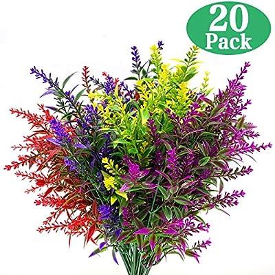 20 Bundles Artificial Lavender Outdoor UV Resistant Flowers Plastic Fake Flowers Plants, Artificial Flowers Faux Plants for Outdoor Window Box Hanging Planter Home Porch Decoration(Mix-colored)