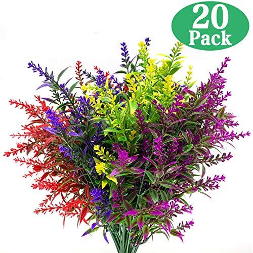 TURNMEON 20 Bundles Artificial Lavender Outdoor UV Resistant Flowers Plastic Fake Flowers Plants, Artificial Flowers Faux Plants for Outdoor Window Box Hanging Planter Home Porch Decoration (Mixed)