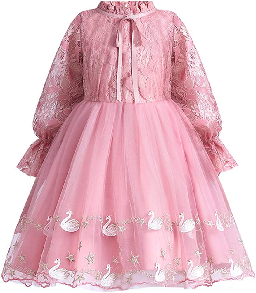 Girls' Lace Party Princess Dress Casual Elegant Long Sleeve Solid Pleated Tulle Dresses for 5-14 Years