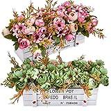 Fiori artificiali - Camelia finta in vaso, fiori di camelia finta con margherita in vaso di legno per la decorazione del desktop dell'ufficio, matrimonio, festa a casa, set di 2