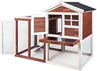 2-Storey House with Activity Area Animal Rabbit Hutch Wooden Large Backyard Garden Outdoor