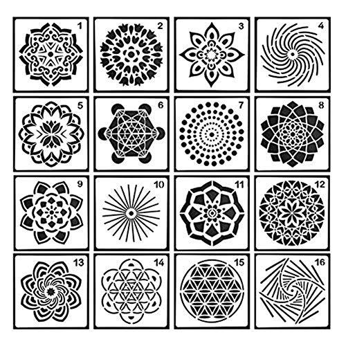 Luminiu Mandala Plantillas Creativas de Mandala de la Segunda generación de Mandala de Flores para Colorear Mandala de Piedra de Color de 16 Piezas