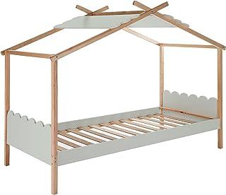 HOMCOM Lit cabane Enfant Compatible 90 x 190 cm/90 x 200 cm - Structure lit avec tête de lit, Pied de lit et sommier à Lat...