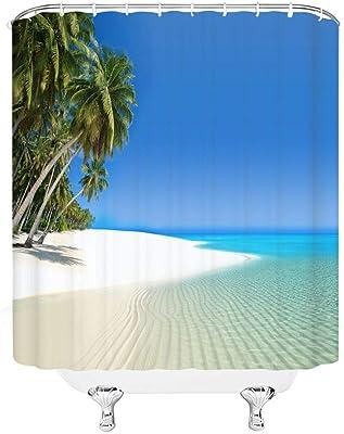 qianliansheji Beach Scene Shower Curtain Tropical Beach Theme Palm Blue Waterproof Fabric Bathroom Sets 70x70