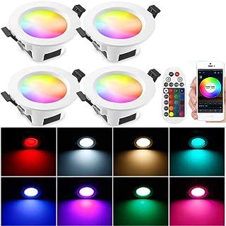 4 focos LED empotrables con Bluetooth, 9 W, 230 V, RGBW CCT (2700 K-6500 K), foco de techo inteligente, focos empotrables, 16 millones de colores, Sync Music, lámpara de techo con mando a distancia