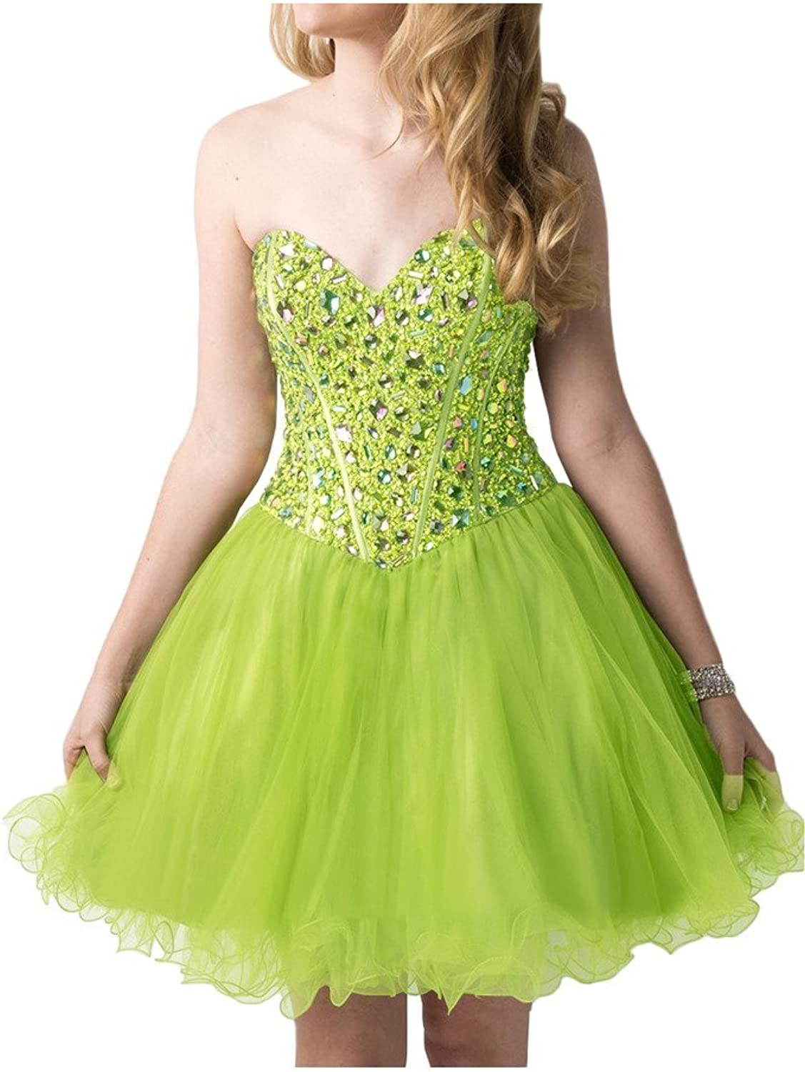 Avril Dress Sweetheart ALine Rhinestone Tulle Homecoming Cocktail Dress Mini