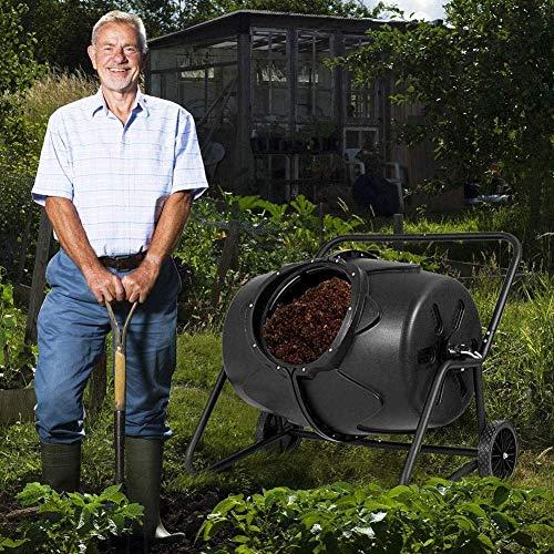 ZHANGYY Compostador Giratorio Grande, cubeta giratoria de 360 ° para composta, Cubos de Basura para jardín con Soporte de Acero, compostaje rápido con Orificios de ventilación