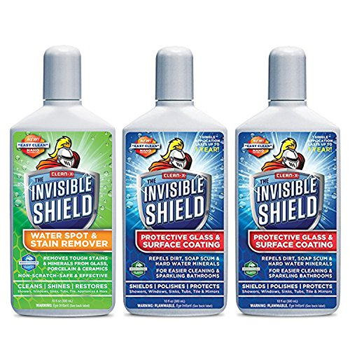 Invisible Shield- Glass Coating & Restorer Pack (Protects Glass Against Hard Water...for shower glass, wall tile & more)