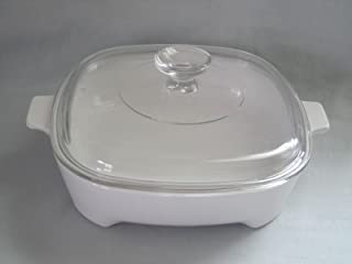 """Vintage Corning Ware """" Just White """" Micromate Browning Skillet w/ Lid - 1.5 Quart"""