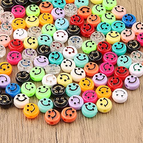 ZesNice Perline smile, 200 pz Sorridi Perline Perle con Grande Buco e Cavo elastico da 8 m Perle Acrilico per Gioielli Fai da Te Collane Braccialetti Bigiotteria Arti e Mestieri per Bambini