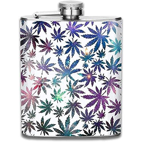 Galaxy Cannabis Leaves Frasco de acero inoxidable Frasco clásico Whisky Vodka Alcohol Frasco de...