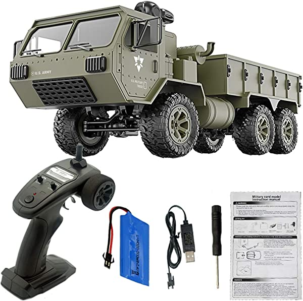 Ternence Flynn RC Military Truck 1 16 6WD 2 4G Remote Control Car Off Road Car For Kids Or Adults 12km H