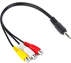 Xenocam 3.5 mm to Triple RCA Audio/Video AV Female Composite Stereo Splitter Cable Adapter
