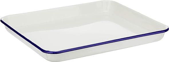 Wiltshire Enamel Rectangular Blue Rim Baking Tray, 30 x 26 cm, 1 L, Cream