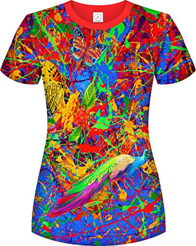 aofmoka Damen-T-Shirt mit 3D-Schwarzlicht, Neonfarben, handgefertigt, Kunst, lebhafte Farben - mehrfarbig - Groß