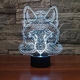 3D Illusion El lobo Lámpara luces de la noche ajustable 7 colores LED Creative Interruptor...
