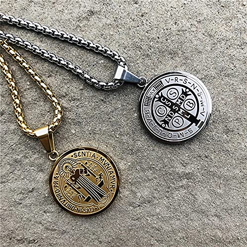 NVTHINH Stainless Steel Saint Benedict Medal Necklace for Catholic Jewelry Religious Protection Necklaces for Men Women (Metal Color: Steel, Length: 60cm(24inches))