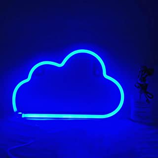 Blue Cloud Neon Light, Cute Neon Cloud Sign, Battery or USB Powered Night Light as Wall Decor for Kids Room, Bedroom, Fest...