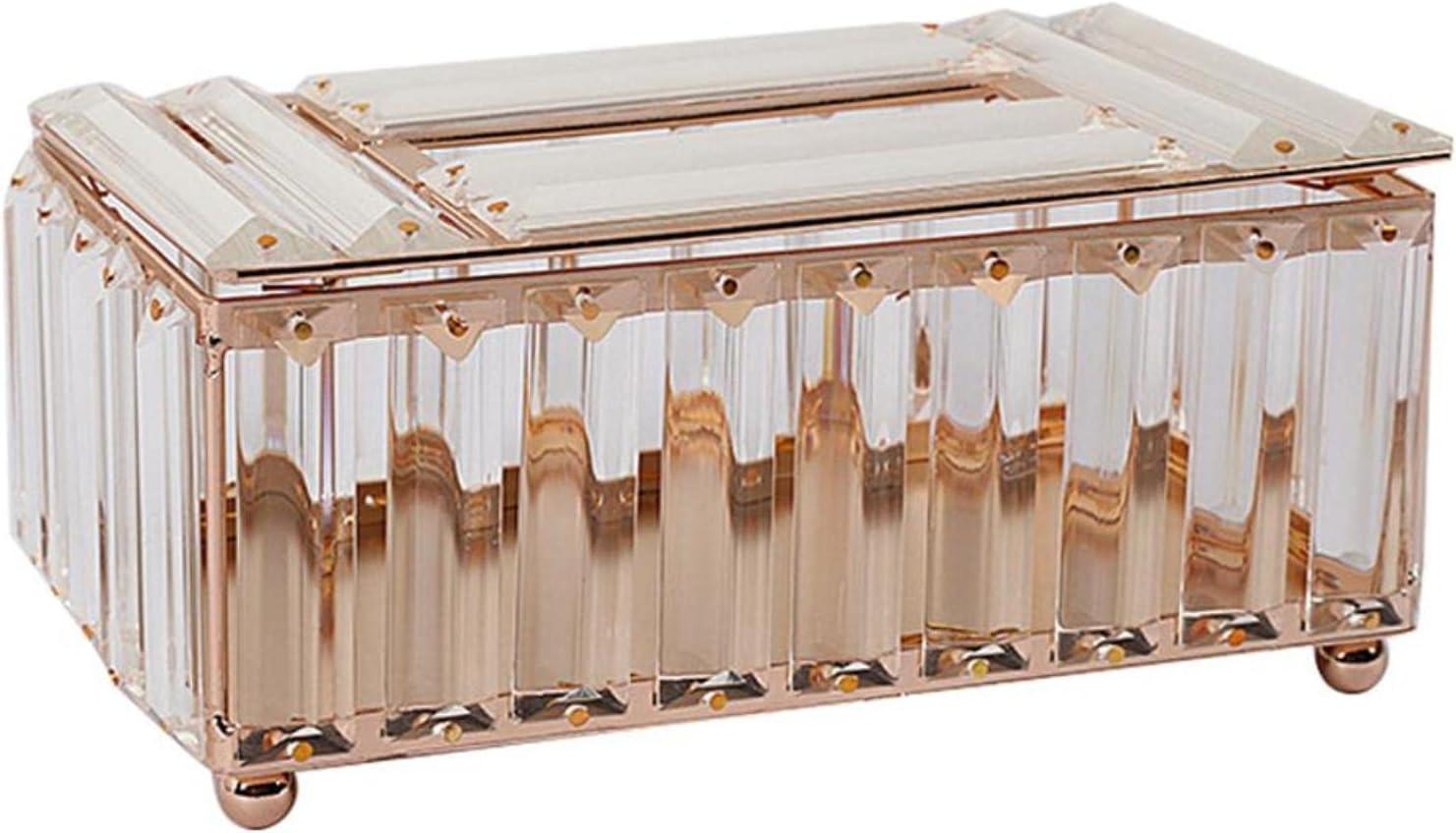 SHT Caja de Tejido de Cristal Papel de Papel Accesorios de Mesa de Oficina Facial Holder Bandeja de servilleta para el Hotel Holder Case Case Decoración
