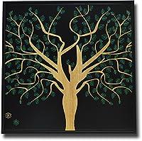 木彫りアート ウッドスカルプチャー 森と鳥B ウッドアートパネル モダン 絵画 壁掛け 木製 アジアン雑貨 インテリア 30×30