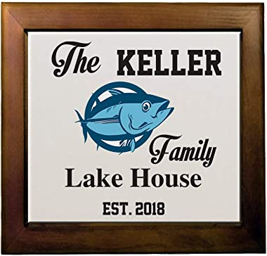 Personalized Custom Text Home Family Lake House Fishing Ceramic Tile in Wood Frame