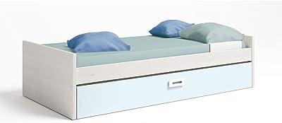 Muebles Baratos Cama Nido Juvenil, Subida A Domicilio, Color Blanco Nordic y Azul Nube