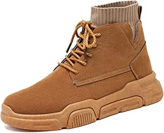 QinMei Zhou Ankle Boots for Men Work Boot Lace up PU Leather Patchwork Platform Round Toe Rubber Sole Anti-Skid Elastic Socks Collar Solid Color (Color : Camel, Size : 8 UK)