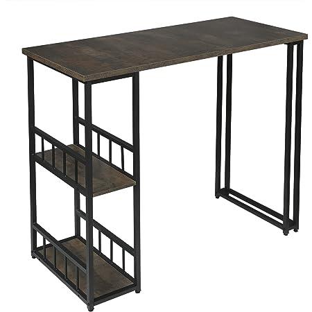 WOLTU BT25srs Table de Bar Table de Bistrot Table de comptoir avec 2 tablettes, Structure en métal Plateau en MDF,120x50x105cm Noir+Rouille