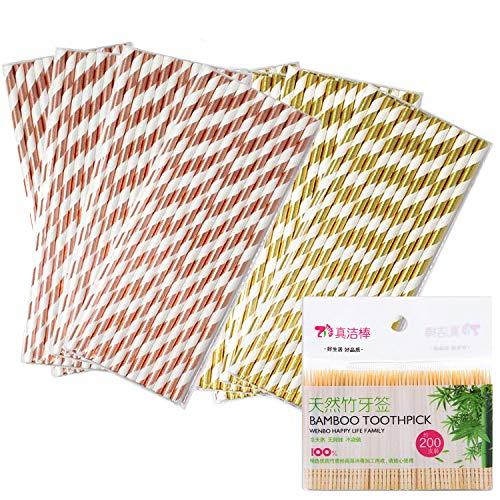 Paglie di Carta | Cannucce monouso biodegradabili per Tutti i Giorni, Feste, celebrazioni, Matrimoni | Oro rosa 100 PCS + 200 stuzzicadenti