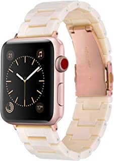 V-MORO Resin Bands Compatible with Apple Watch Band 42mm 44mm Women iWatch Series 4/3/2/1 with Stainless Steel Metal Buckle Replacement Lightweight Wristband(Light Pink, 42mm/44mm)