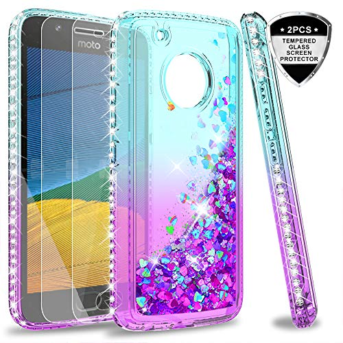 Moto G5 Plus Case, Moto G Plus 5th Generation Case with Tempered Glass Screen Protector for Girls Women, LeYi Glitter Cute Shiny Moving Quicksand Clear Phone Case Cover for Moto X 2017 ZX Teal/Purple