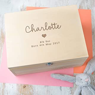 Personalized Baby Keepsake Box - Newborn Baby Girl Gifts - New Mom Present - Three Engraved Wooden Memory Boxes to Choose From!