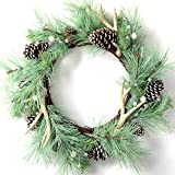 LOHASBEE Artificial Christmas Wreath, 26' Pine Cone Grapevine Frosted Wreath with Deer Antlers, Silver Berries for Christmas Home Front Door Hanging Wall Window Decor