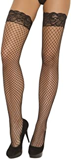 Elegant Moments Women's Fence Net Thigh Hi with Stay Up Silicone Lace Top