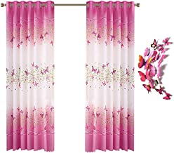 Kids Curtains for Girls Room, Butterfly Flowers Printed Window Curtains Panels with 12pcs 3D Butterflies, Pink Grommet Window Drapes for Kids Girls Bedroom Living Room - 39 x 78 Inch, 2 Panels