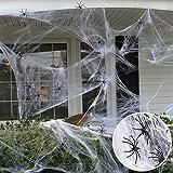 JuguHoovi Halloween Deko,Halloween Spinnennetz,Halloween Deko Garten Horror Grusel Deko Set Halloween Spinne Outdoor Indoor Spinnennetz 120g mit 20 Spinne für Party Deko Dekoration